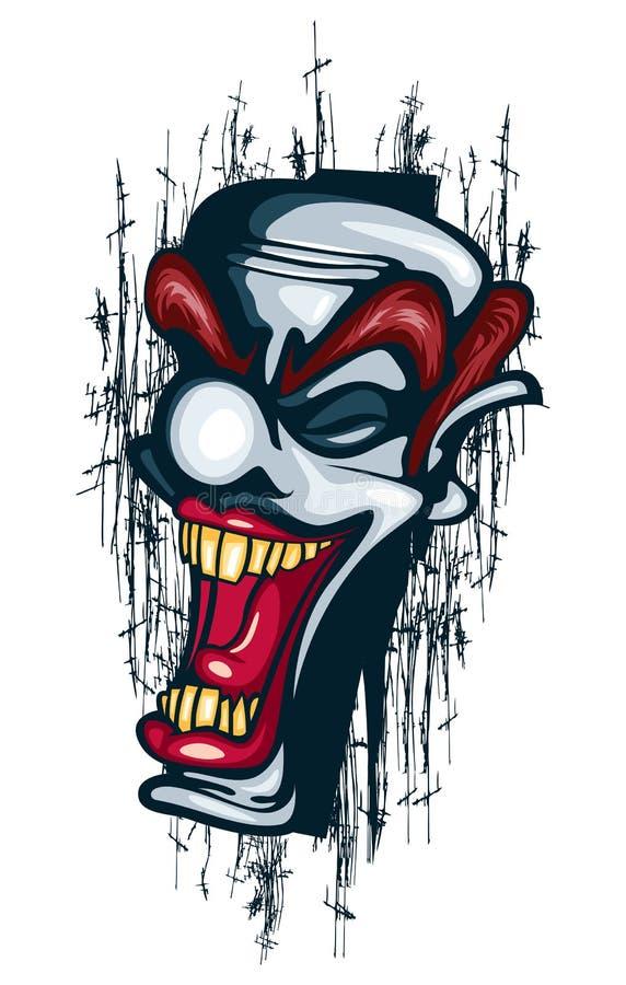 Burlone di Tattoo Vector Circus del pagliaccio di sorriso riuscito illustrazione vettoriale