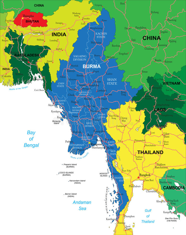 Burma Map Royalty Free Stock Image