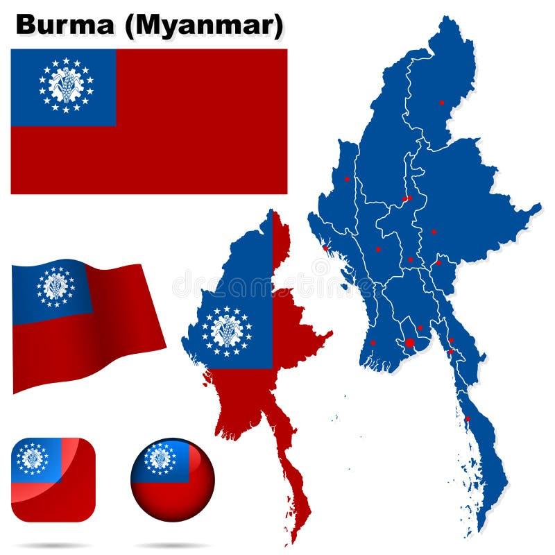 Burma (Myanmar) ajustou-se. ilustração do vetor