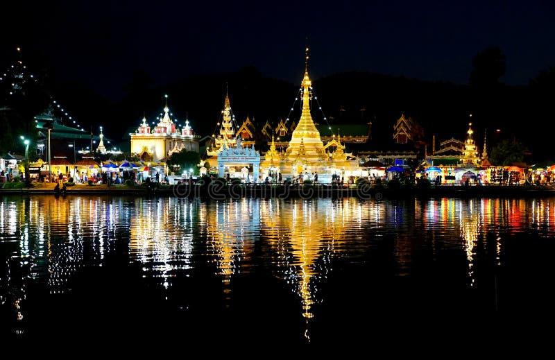 Burmese Architectural Style of Wat Chong Klang. And Wat Chong Kham at night. Mae Hong Son, Northern Thailand royalty free stock photos