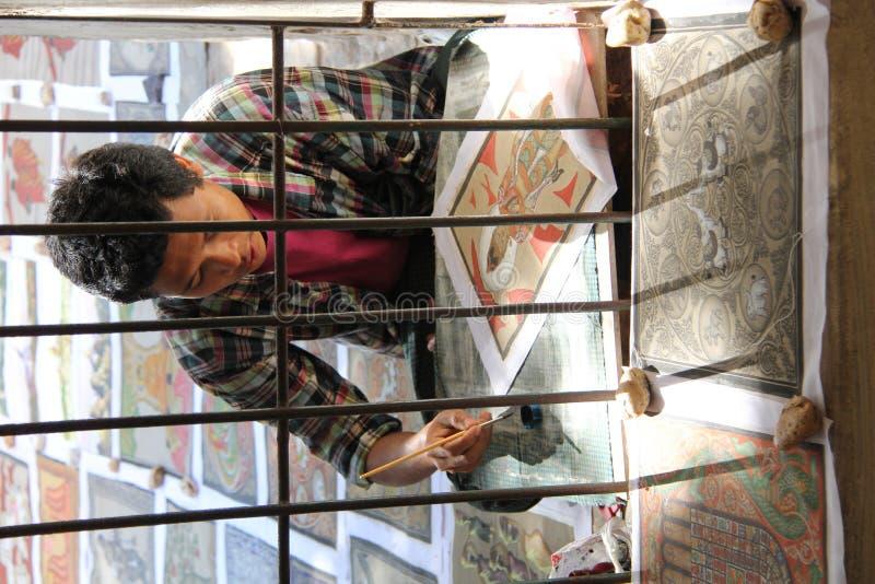 Burmese artist. At Bagan temple royalty free stock photos