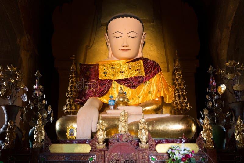 Burmese Buddha statue. In the Izagawna pagoda in Bagan, Myanmar royalty free stock photo