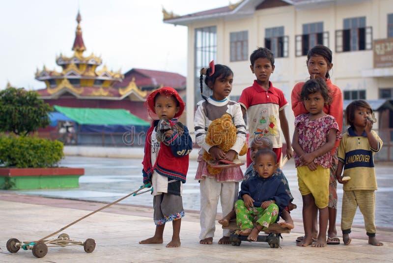 Burmese children on Inle lake in Burma royalty free stock photos