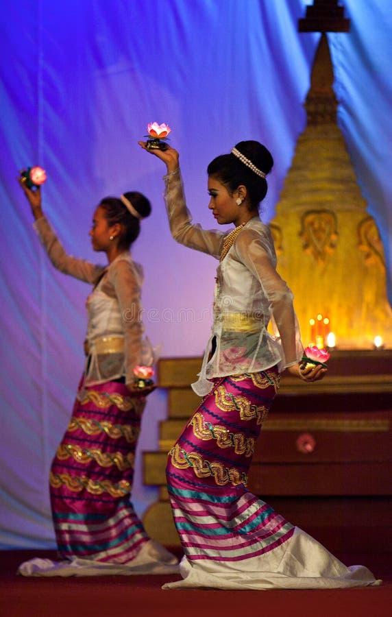 Burmese Dance - Asian Traditional Theatre and Dance. YANGON, MYANMAR - JANUARY 25: Actors performing traditional Burmese dance with oil lamps on evening show in stock image