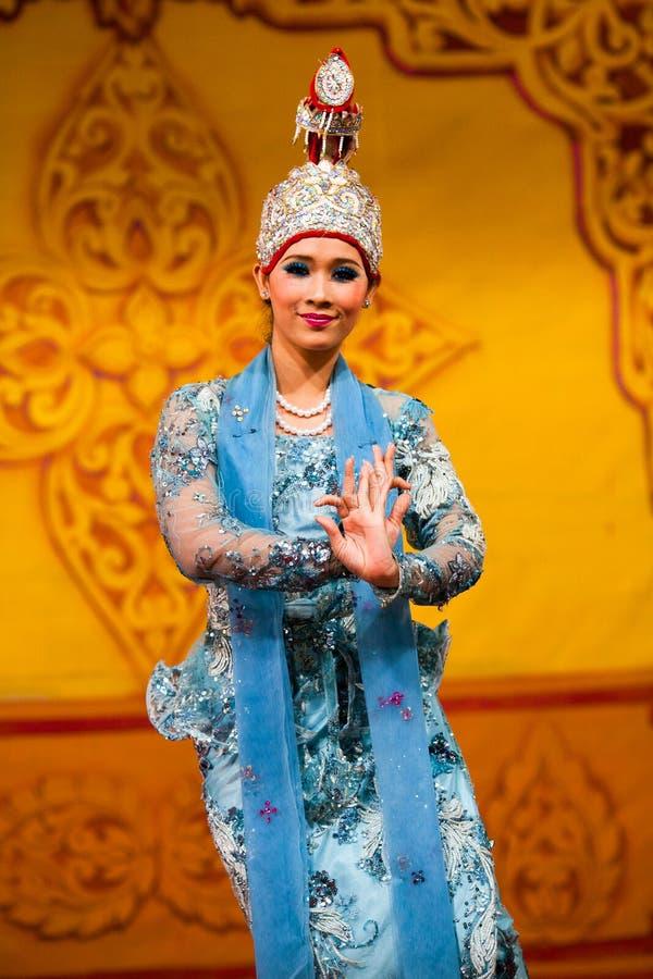 Burmese Dance - Asian Traditional Theatre and Dance. YANGON, MYANMAR - JANUARY 25: Beautiful girl performing traditional Burmese dance on January 25, 2011 in royalty free stock photos