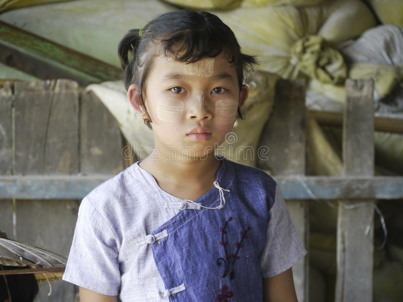Burmese girl portrait, Inle lake, Burma royalty free stock photography