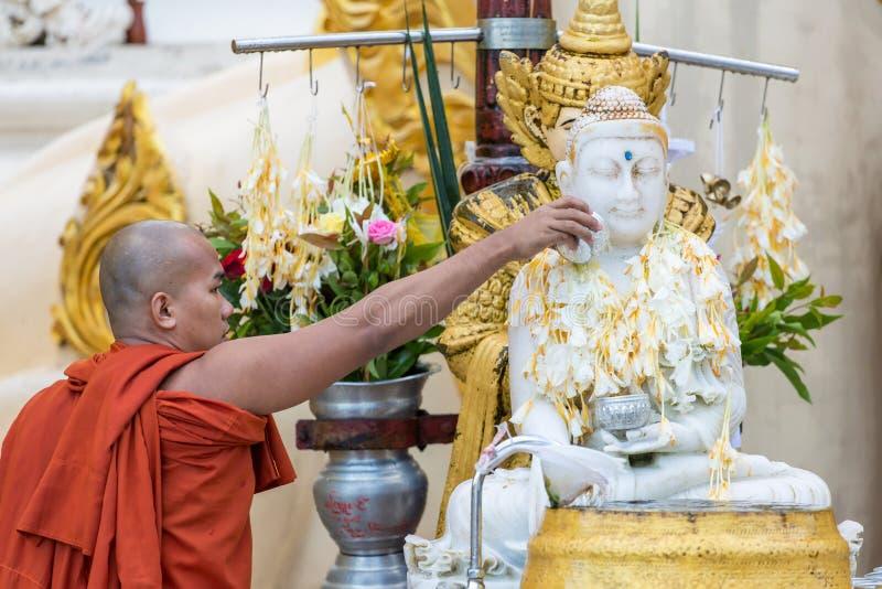 Burmese hällande vatten för buddistisk munk över Buddhastatyn för att välsigna i den Shwedagon pagoden i Yangon, Myanmar royaltyfri foto