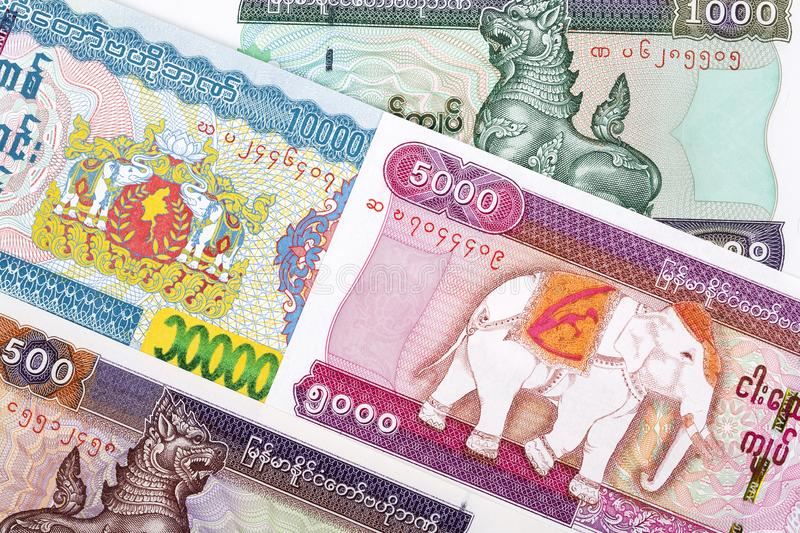 Burmese Kyat a background. Burmese Kyat a business background royalty free stock photo