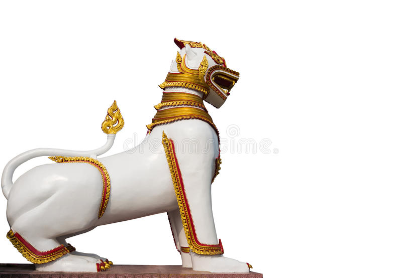 Burmese lion statue on white background royalty free stock image