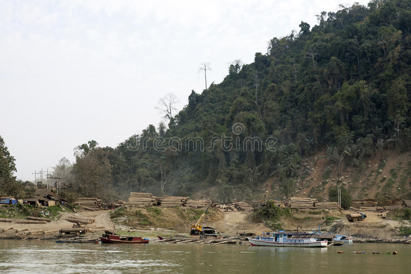 Download Burmese Logging Camp stock photo. Image of cargo, fallen - 30440820