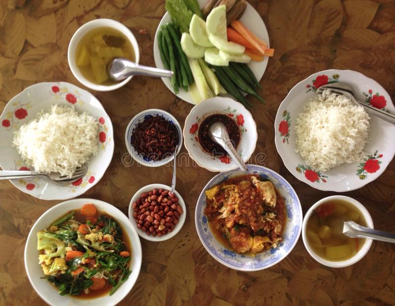 Burmese meal. Burmese food on a royalty free stock image