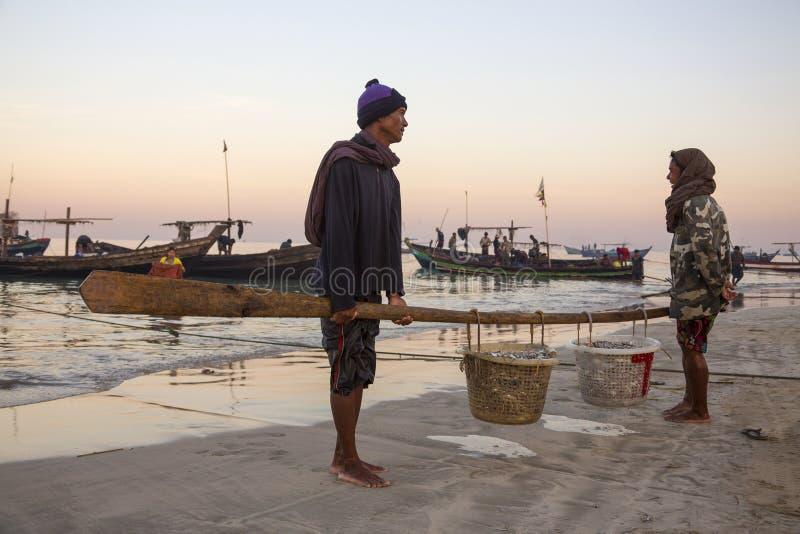Fishing Village - Ngapali Beach - Myanmar (Burma) Editorial Stock Photo