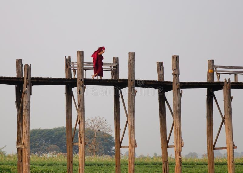 Burmese monks in red clothes walking on Ubein Bridge stock photo