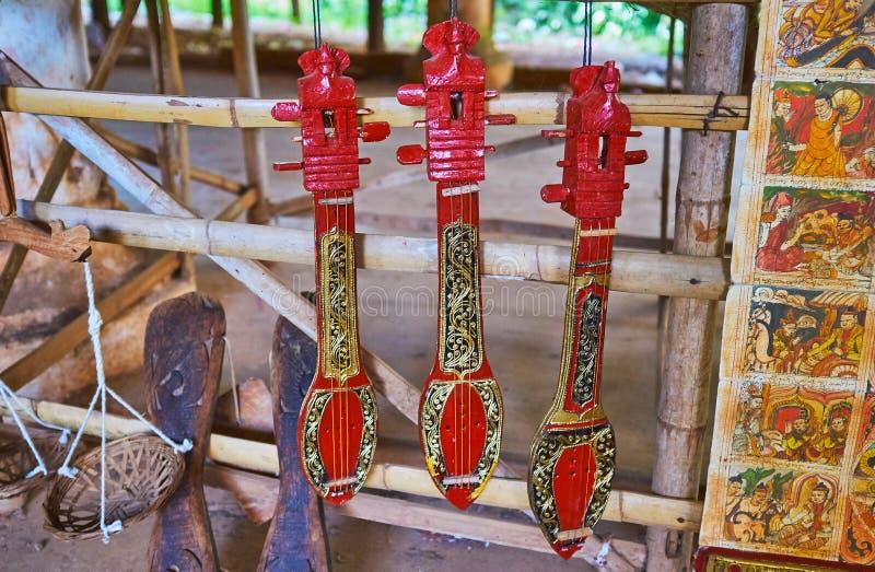 Burmese musical instruments, Inn Thein village, Inle Lake, Myanmar. Traditional Burmese string musical instruments in market of Inn Thein Indein village on Inle royalty free stock images