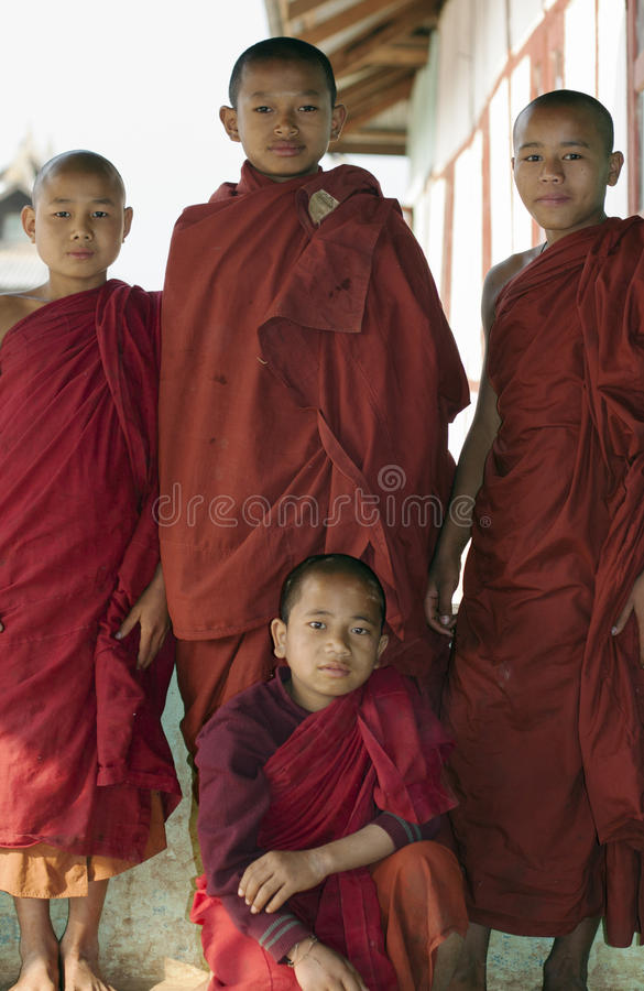 Burmese Novice Buddhist Monks. Myanmar, Burmese young Novice Buddihst Monks in the Shan state royalty free stock photos