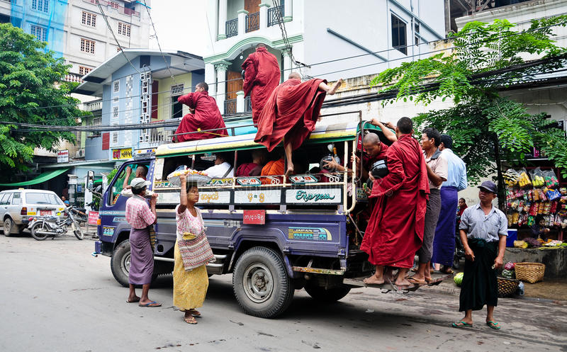 Burmese people on the local bus royalty free stock images