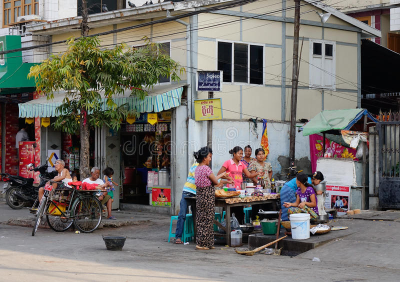 Burmese people selling street food royalty free stock photography