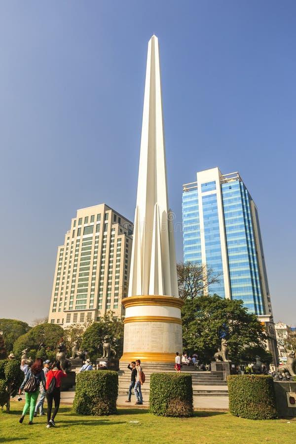 Burmese people visit at Independence Monument in Mahabandoola park in downtown Yangon. Myanmar stock photo