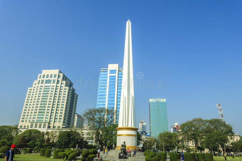 Burmese people visit at Independence Monument in Mahabandoola park in downtown Yangon. Myanmar stock photos