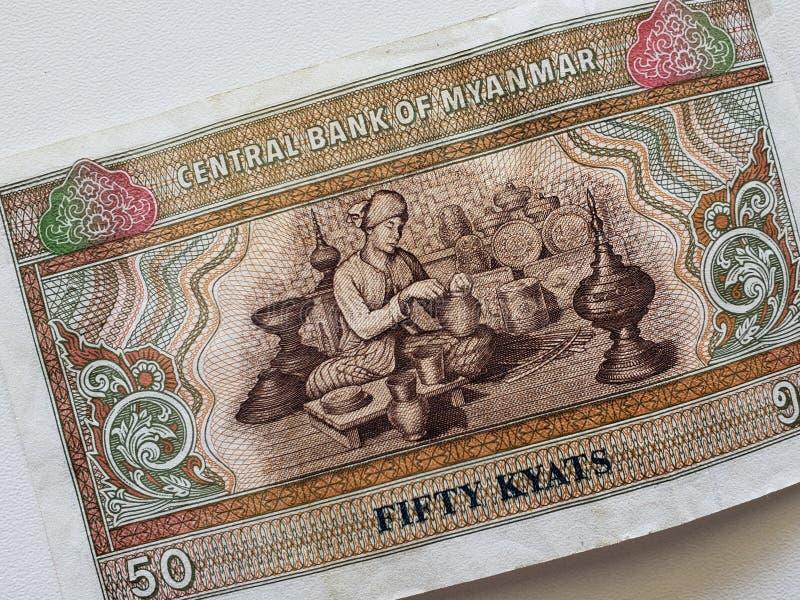 Burmese sedel av femtio kyats arkivbilder
