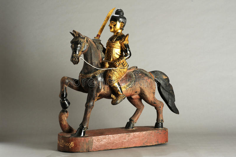 Burmese statue of Nat. On a horse stock photo