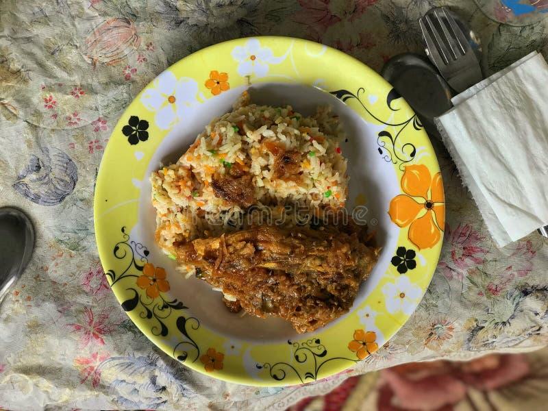 Burmese style biryani rice with chicken stock image