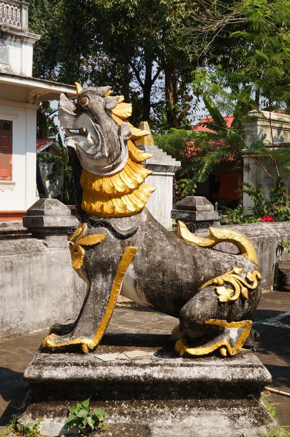 The Burmese style lion at Wat Sri Rong Muang, Lampang,Thailand. stock image