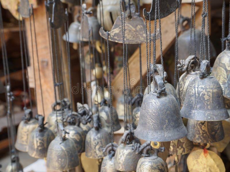 Burmese temple bells sway gently. In the wind, Htilominlo TempleBagan Myanmar Burma stock image
