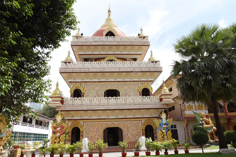 Burmese Temple in Penang, Malaysia. Detail from Dhamikarama Burmese Temple in Penang stock photos