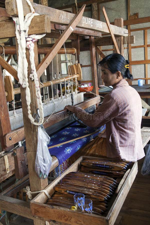 Download Burmese Woman Working Loom editorial photo. Image of asia - 30006926
