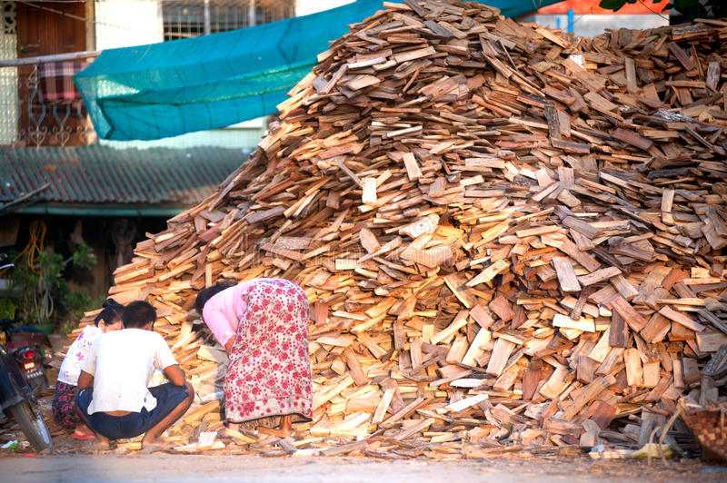 Burmese woman working. MANDALAY,MYANMAR-JULY 2 : Daily life of Burmese women. To bring firewood heap sort Before being made into fuel near Ayeyarwaddy river on stock photos
