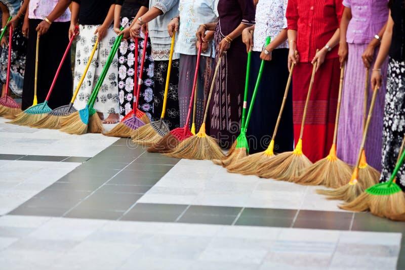 Download Burmese Women Washing The Floor At Shwedagon Paya, Myanmar Stock Photo - Image: 34005382