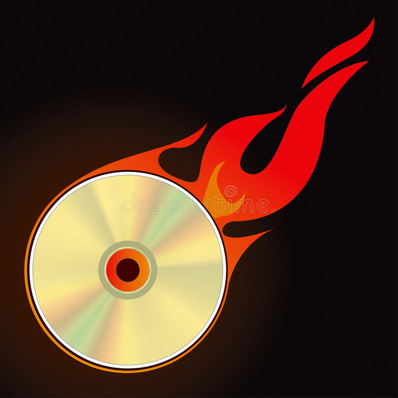 Burn CD. Set 1 Vector Drawing stock illustration