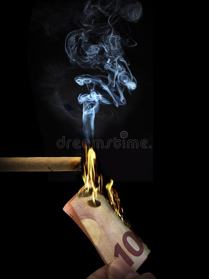 Burn cigar stock photo