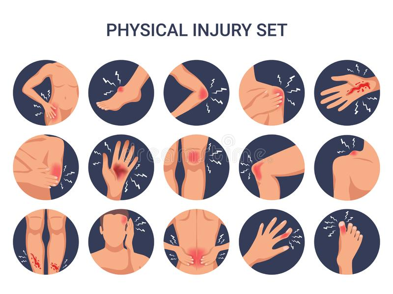 Burn Cut Injury Flat Set. Human body physical injury round flat set with shoulder knee finger burn cut wounds isolated vector illustration royalty free illustration