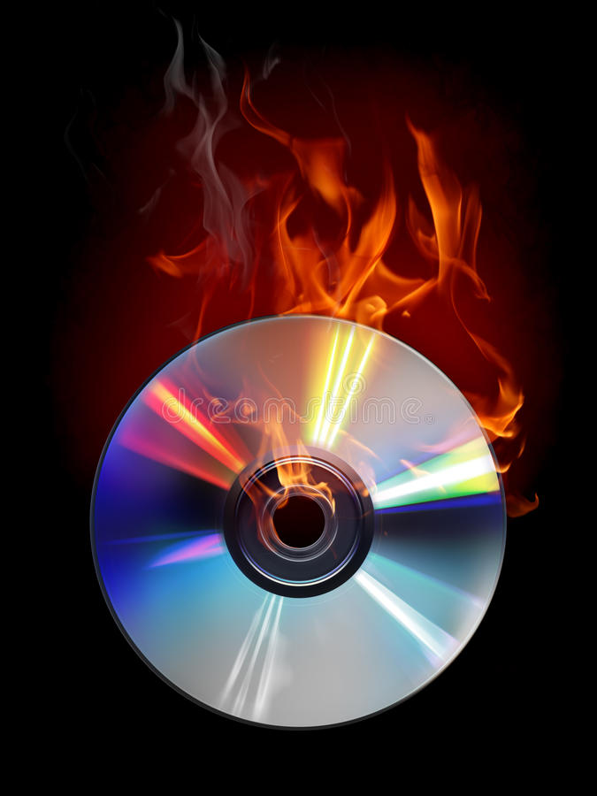 Burn disc. Compact disc with a fire effect royalty free stock image