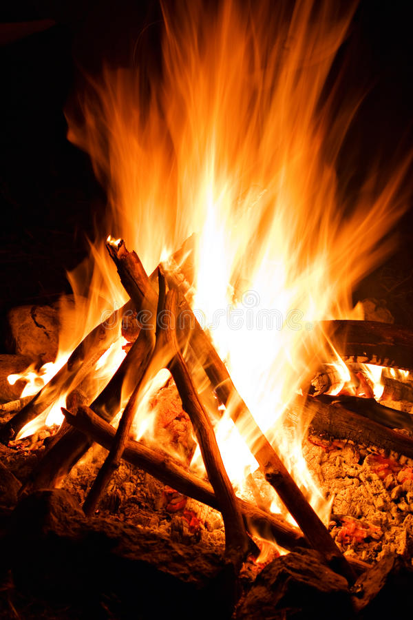 Burn Fire Flame At Dark Background Stock Photography
