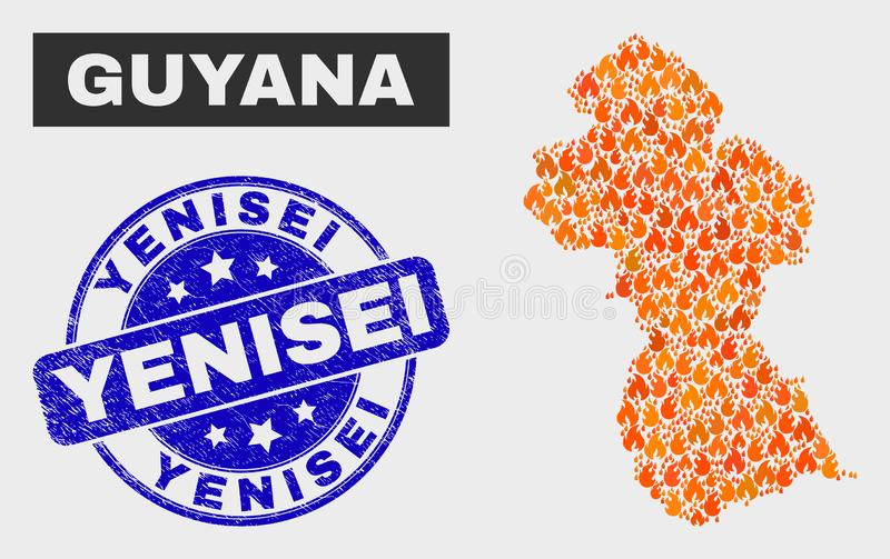Burn Mosaic Guyana Map and Grunge Yenisei Watermark. Vector composition of flame Guyana map and blue rounded grunge Yenisei stamp. Fiery Guyana map mosaic of stock illustration