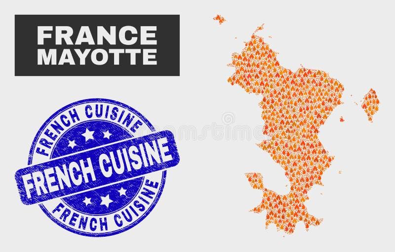Burn Mosaic Mayotte Islands Map and Grunge French Cuisine Stamp vektor abbildung