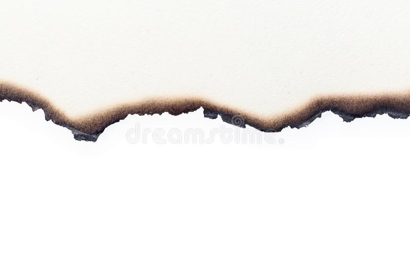 Burn old brown paper half on white texture background stock photo