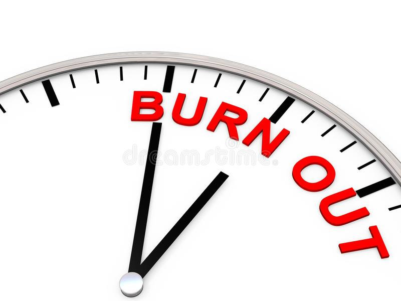 Burn out. As Letters on a Clock which is showing 5 to 12 royalty free illustration