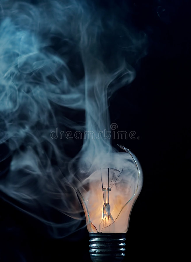 Burn-out - cracked bulb royalty free stock photography