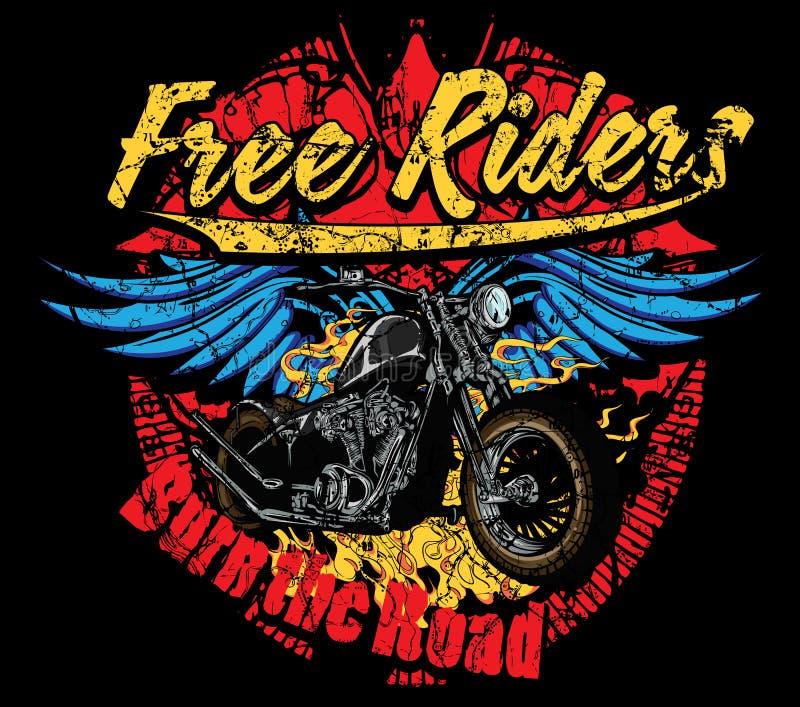 Burn the road. Free riders burn the road stock illustration