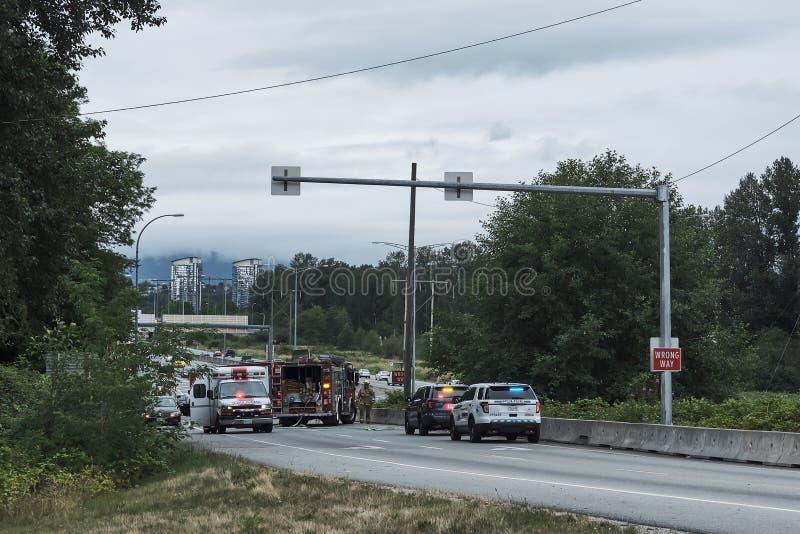 Burnaby, Canadá - 18 de julio de 2018: Accidente de carretera imagen de archivo