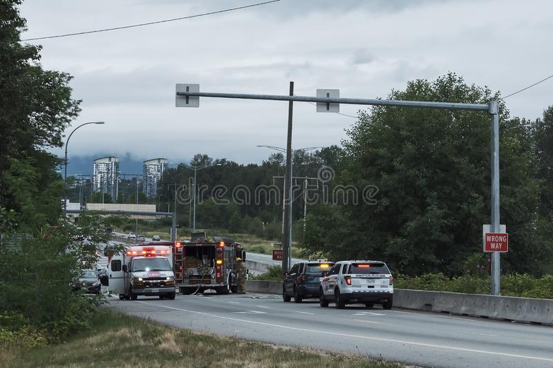Burnaby, Canada - July 18, 2018: Road accident stock photography
