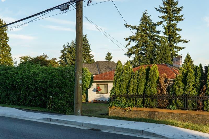 BURNABY, CANADA - JUNE 12, 2019: street view of quiet neighborhood in big city stock image