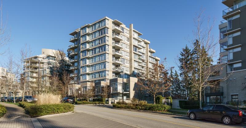 BURNABY, CANADA - NOVEMBER 17, 2019: apartment buildings and street view on sunny autumn day in British Columbia.  stock image
