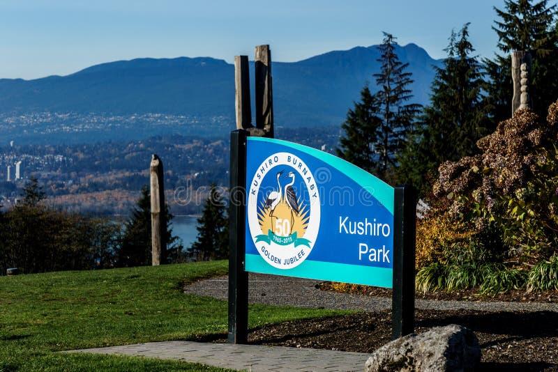 BURNABY, CANADA - NOVEMBER 17, 2018: Burnaby Mountain park in sunny autumn day stock photo