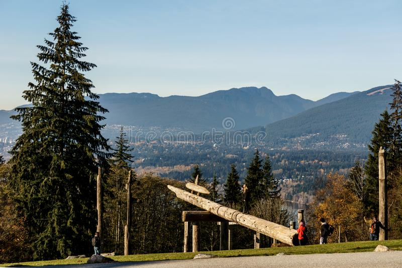 BURNABY, CANADA - NOVEMBER 17, 2018: Burnaby Mountain park in sunny autumn day stock images