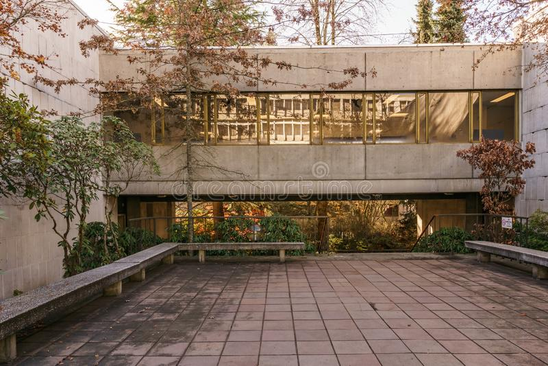 BURNABY, CANADA - 17 NOVEMBRE 2018: Simon Fraser University Campus sulla montagna di Burnaby fotografie stock